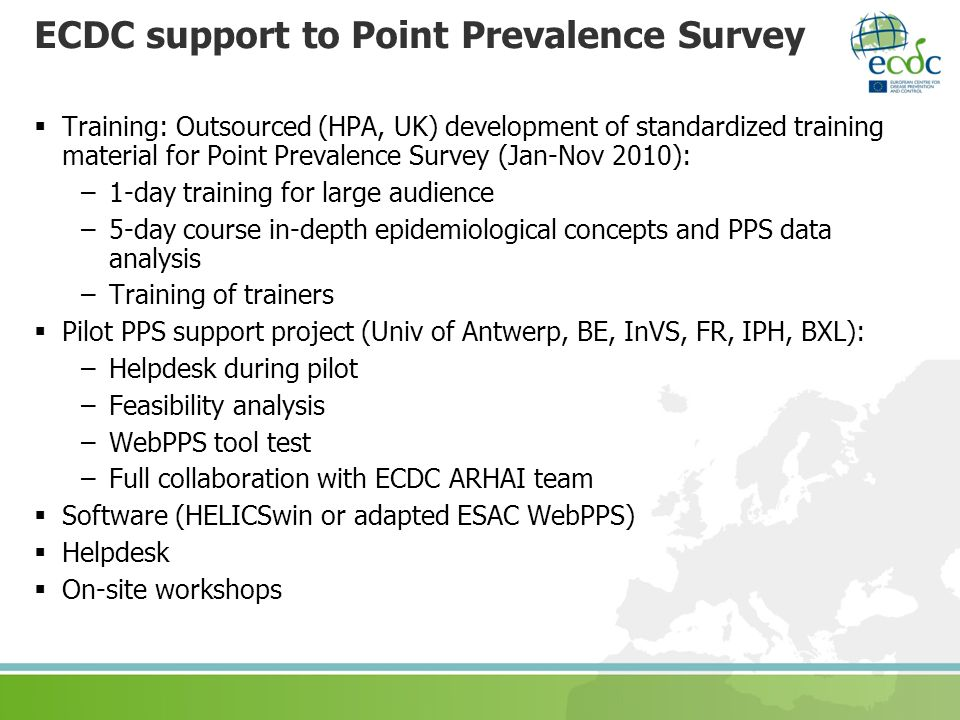 ECDC support to Point Prevalence Survey