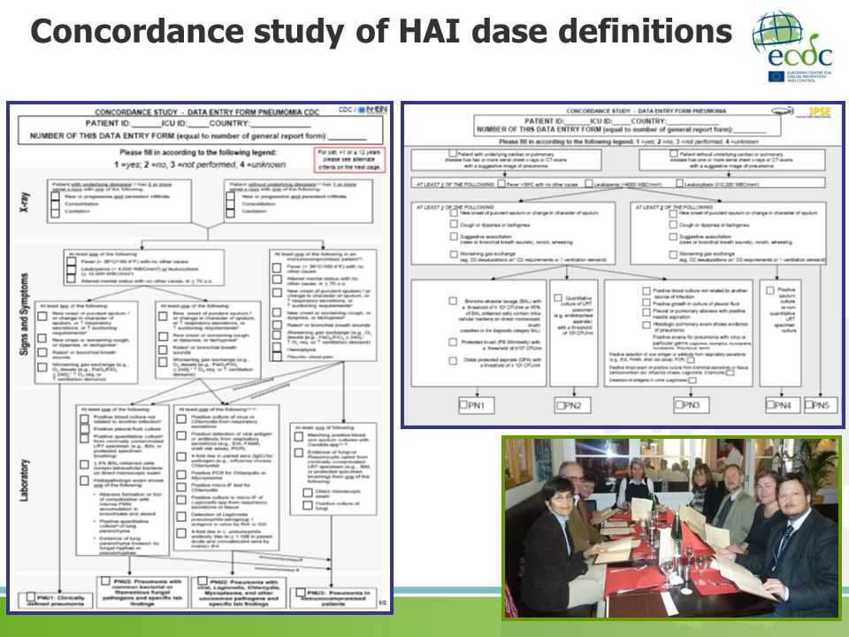 Concordance study of HAI dase definitions