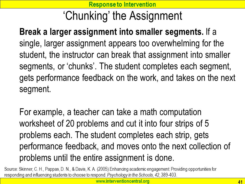 how to break assignments into chunks printable