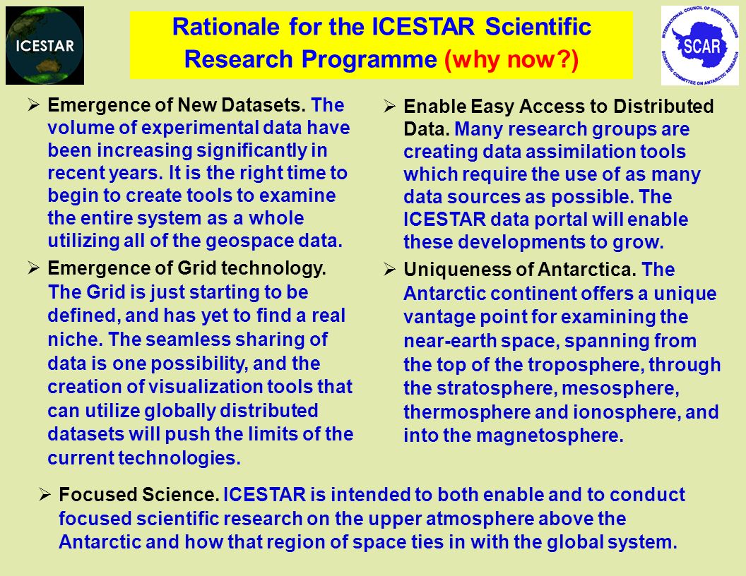 Rationale for the ICESTAR Scientific Research Programme (why now )