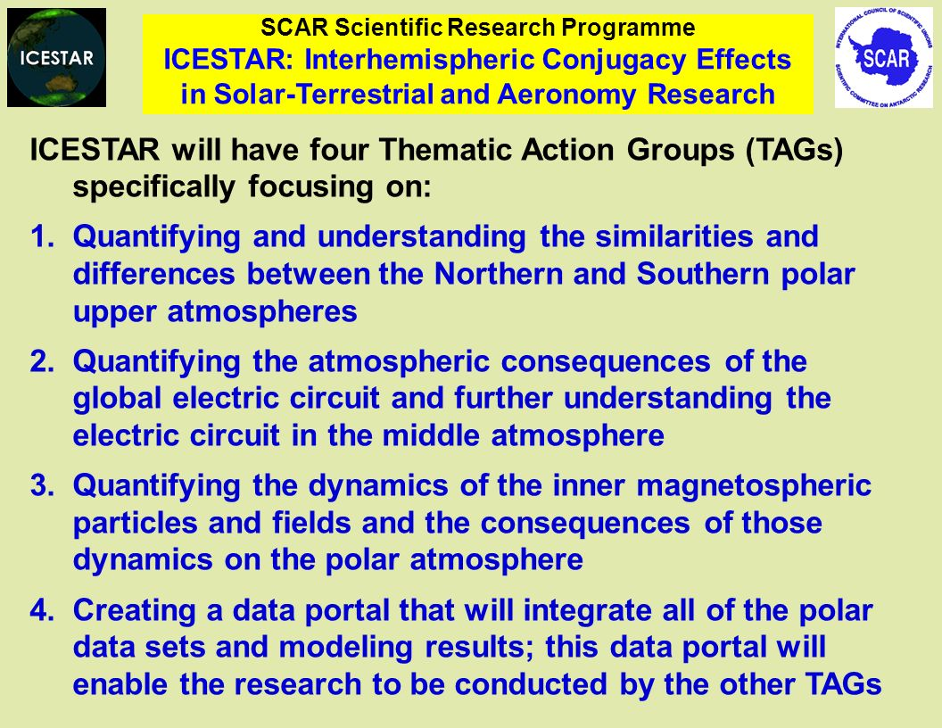 SCAR Scientific Research Programme ICESTAR: Interhemispheric Conjugacy Effects in Solar-Terrestrial and Aeronomy Research