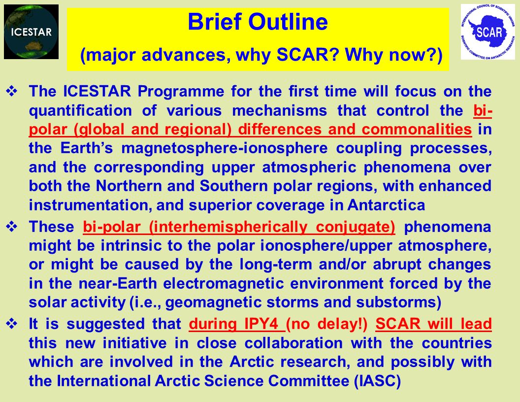 Brief Outline (major advances, why SCAR Why now )