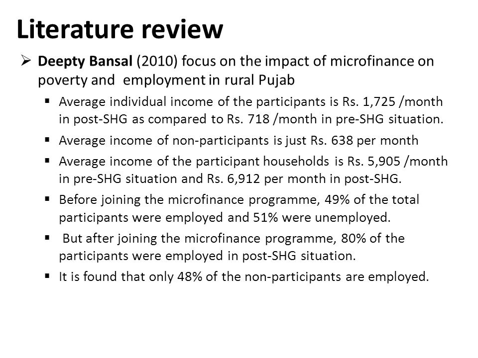 literature review on microfinance in india Effect of microfinance operations on poor rural  literature review of studies assessing the impact  adb microfinance portfolio 37 2 review of literature.