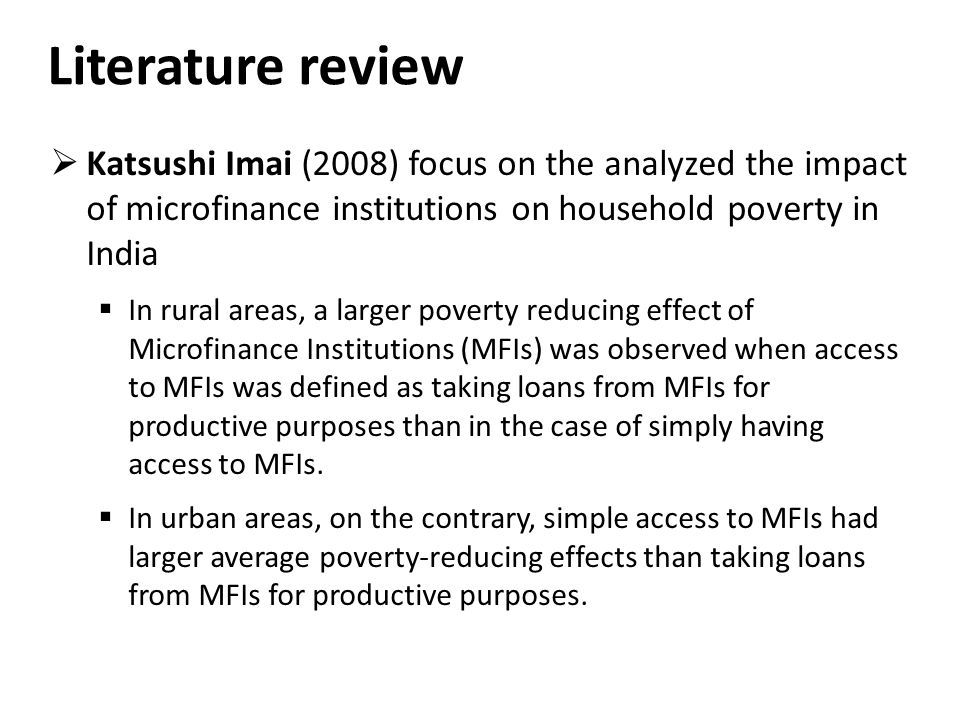 "review of related literature of microfinance in local Literature review on small and medium enterprises' access to to conduct this study ""literature review on amfisa association for pro-poor micro finance."