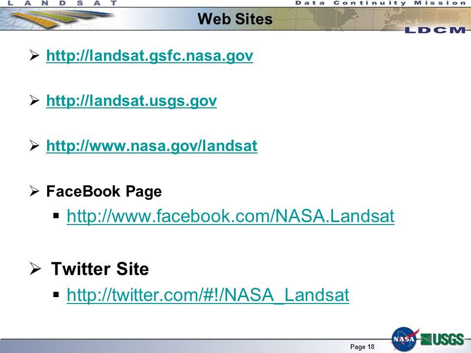 http://www.facebook.com/NASA.Landsat Twitter Site