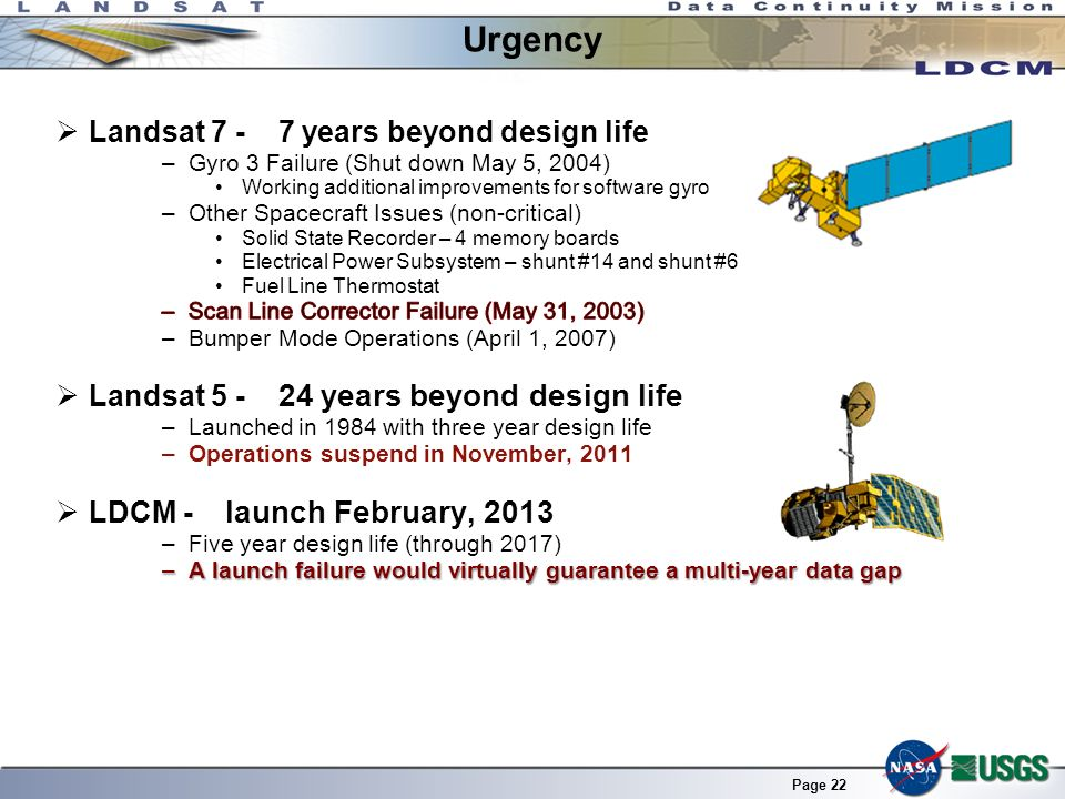 Urgency Landsat years beyond design life