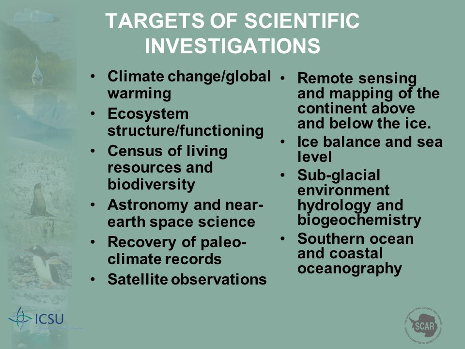 TARGETS OF SCIENTIFIC INVESTIGATIONS