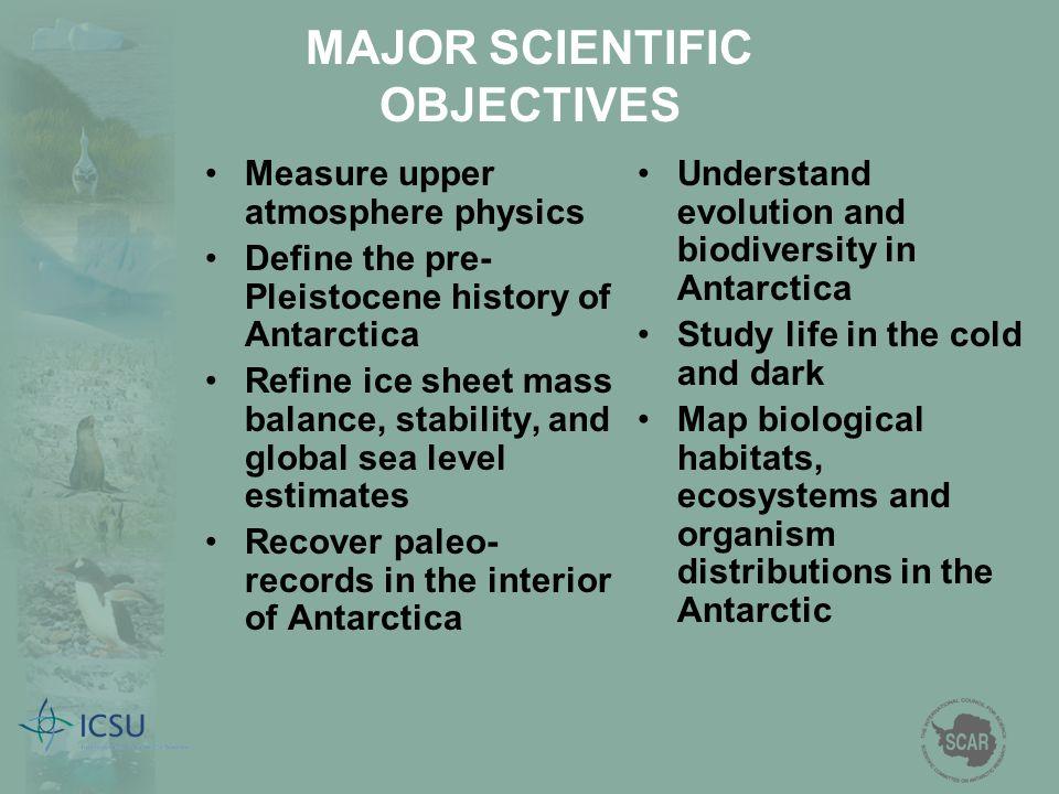 MAJOR SCIENTIFIC OBJECTIVES