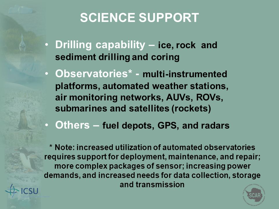 SCIENCE SUPPORT Drilling capability – ice, rock and sediment drilling and coring.