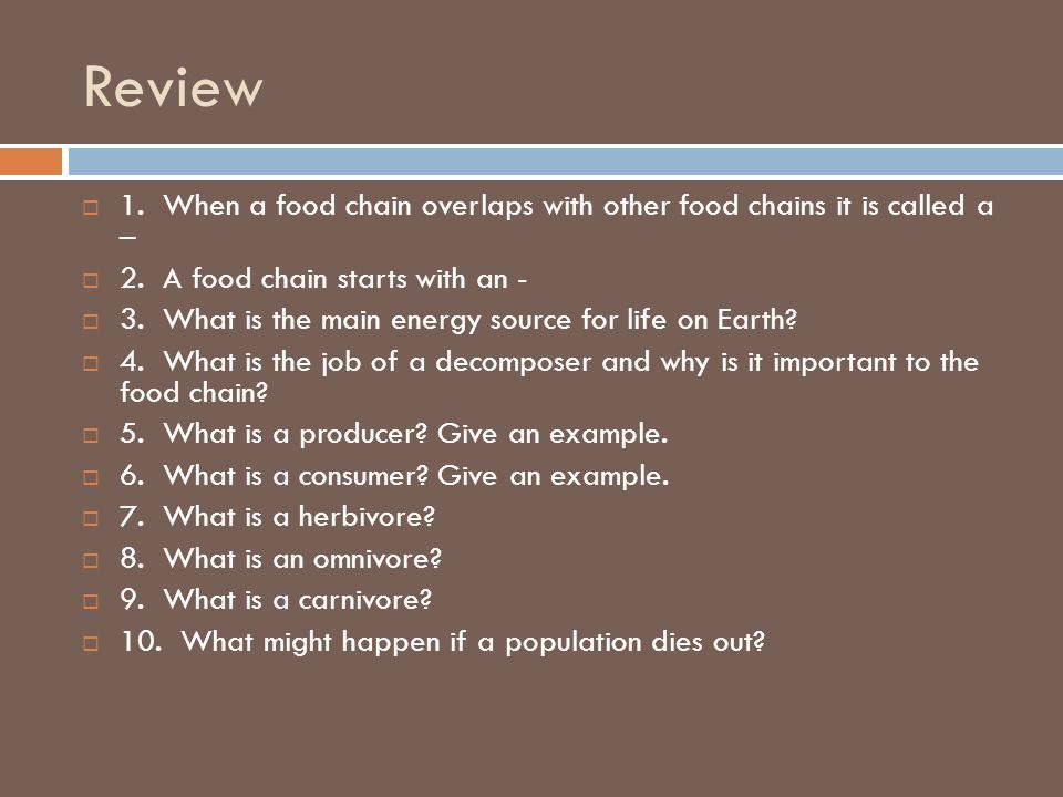 Review 1. When a food chain overlaps with other food chains it is called a – 2. A food chain starts with an -