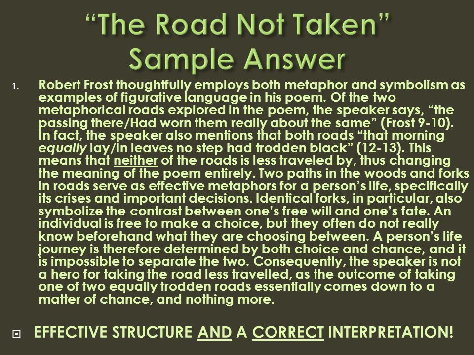 "engdb review the important keys to literary analysis ppt video  24 ""the road not taken"" sample answer robert frost thoughtfully employs both metaphor and symbolism"