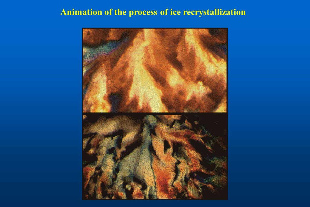 Animation of the process of ice recrystallization