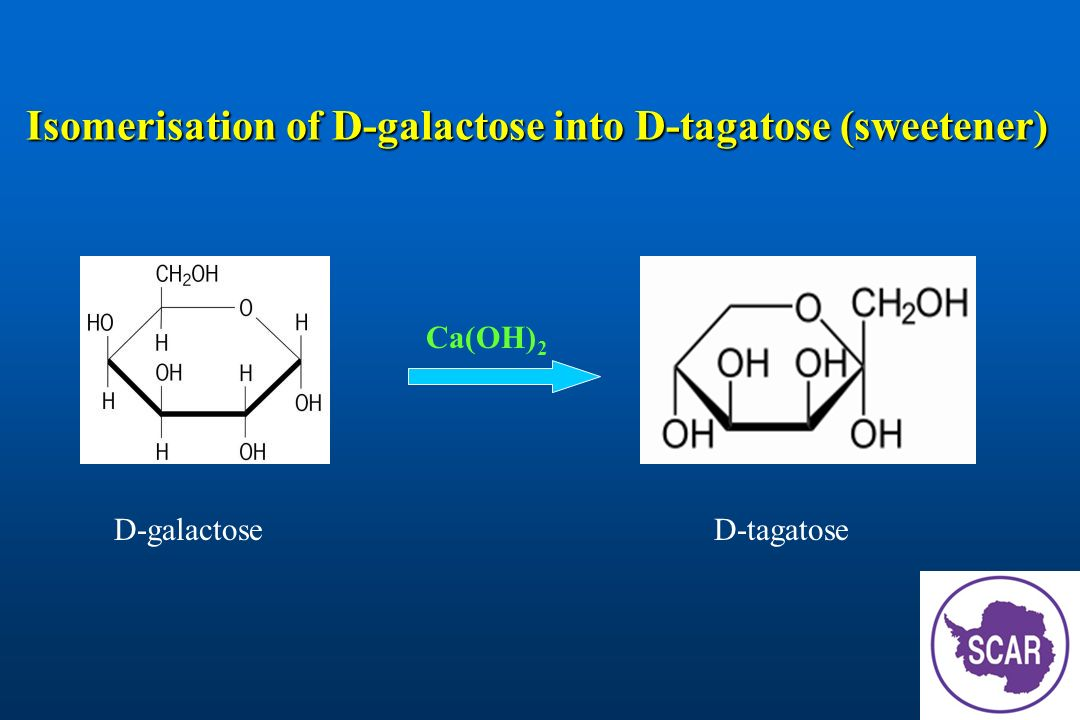 Isomerisation of D-galactose into D-tagatose (sweetener)