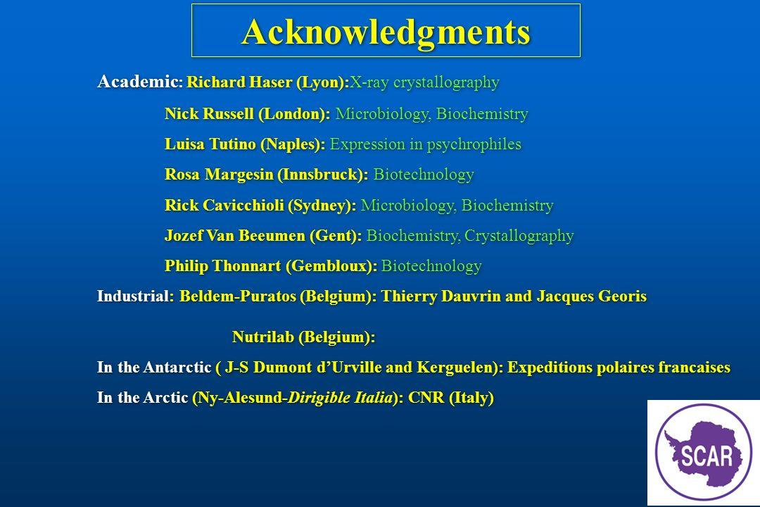 Acknowledgments Academic: Richard Haser (Lyon):X-ray crystallography