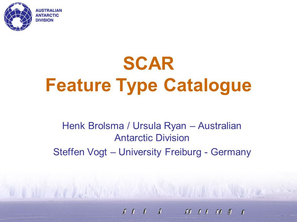 SCAR Feature Type Catalogue