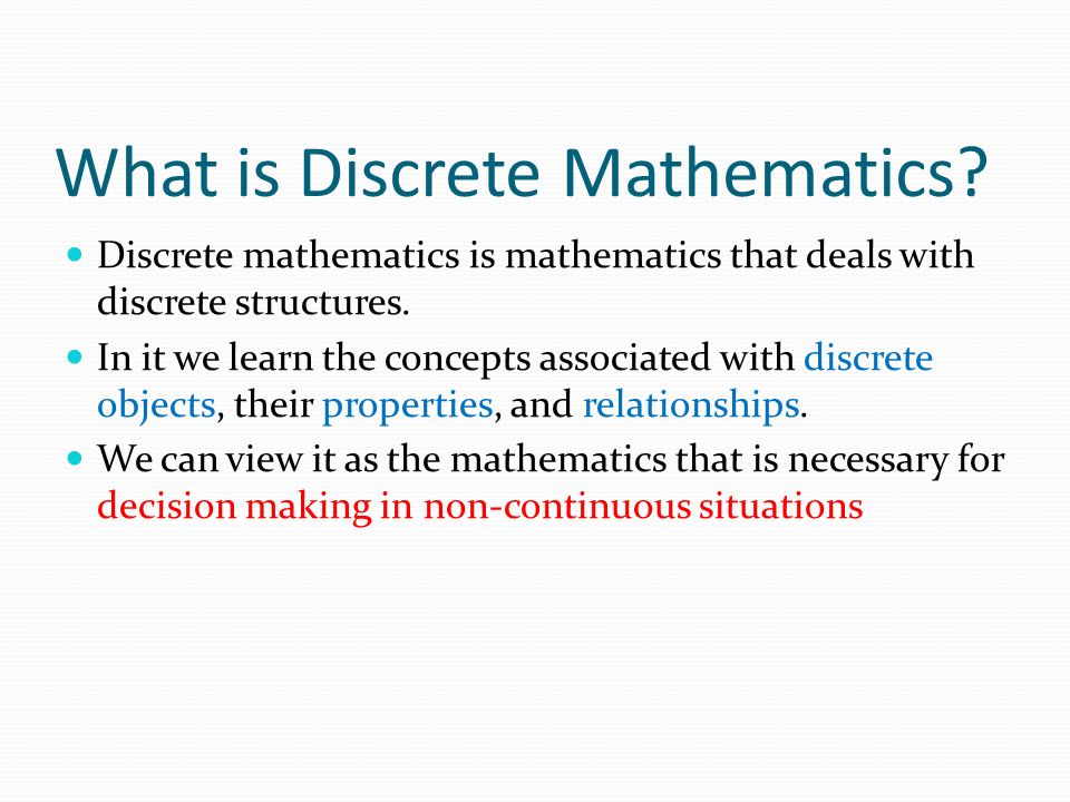 what is discrete mathematics