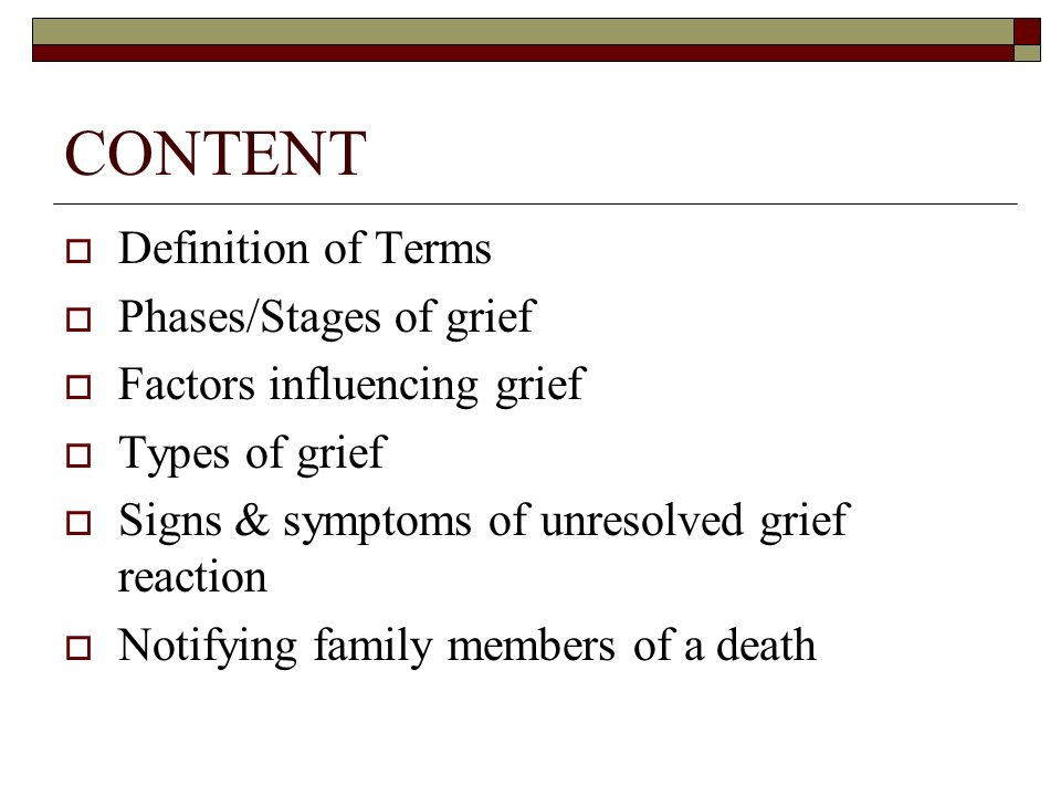 an overview of the grieving process and the reactions to death of a loved one There are five stages of grief and many physical reactions to  experience usually comes from the death of a loved one  timetable for the grieving process.