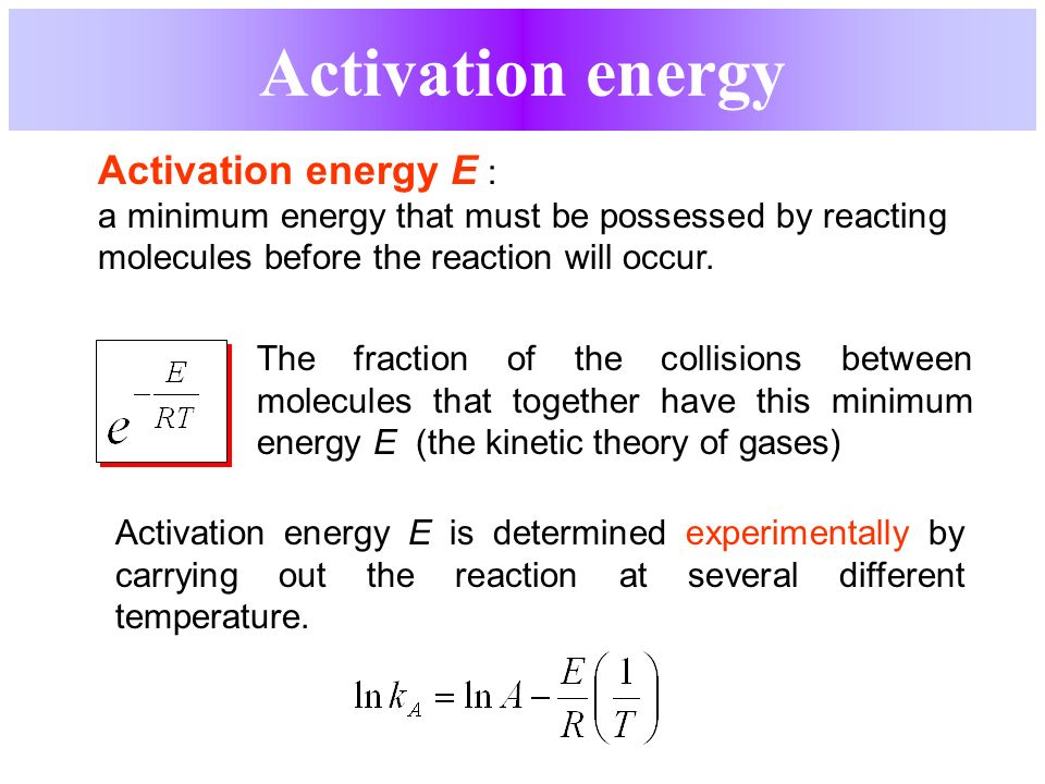 determination of the activation energy essay One will be rate limiting (i don't know which), so your plots will give you the activation energy for that part only as for how, this is standard rate law problems, although this one is a smidge messier than normal.