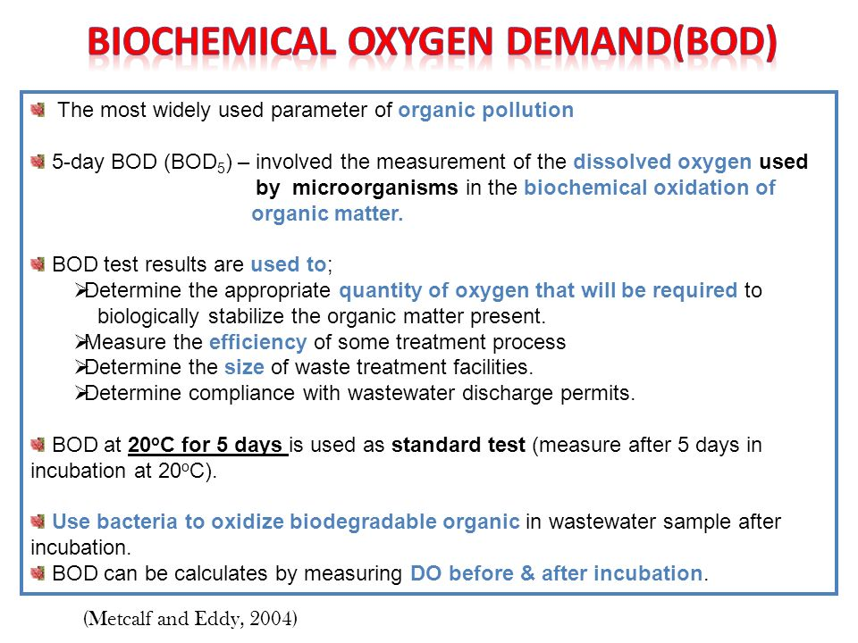biological oxygen demand bod of water sample analysis essay 010 033 330 019 033 330 010 033 330 100 500 200 010 230 435 overall uncertainty (%) 105 conclusion the presence of organic waste present in the water source is evident in that the amount of oxygen present in sample b (920) is clearly fewer than sample a (118) the biological oxygen demand calculated (260) from the.
