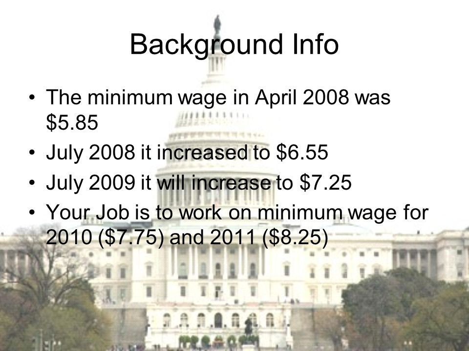 Background Info The minimum wage in April 2008 was $5.85