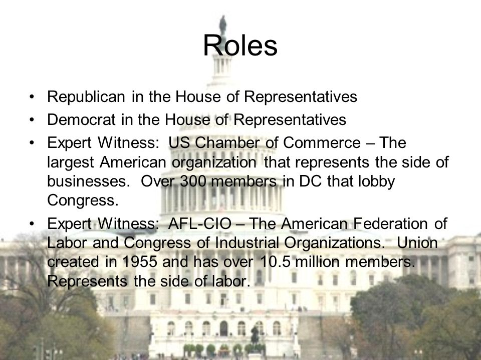 Roles Republican in the House of Representatives
