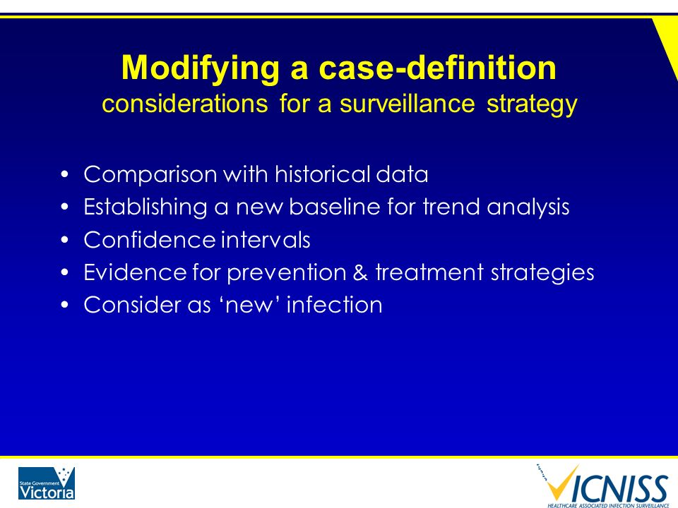 Modifying a case-definition considerations for a surveillance strategy