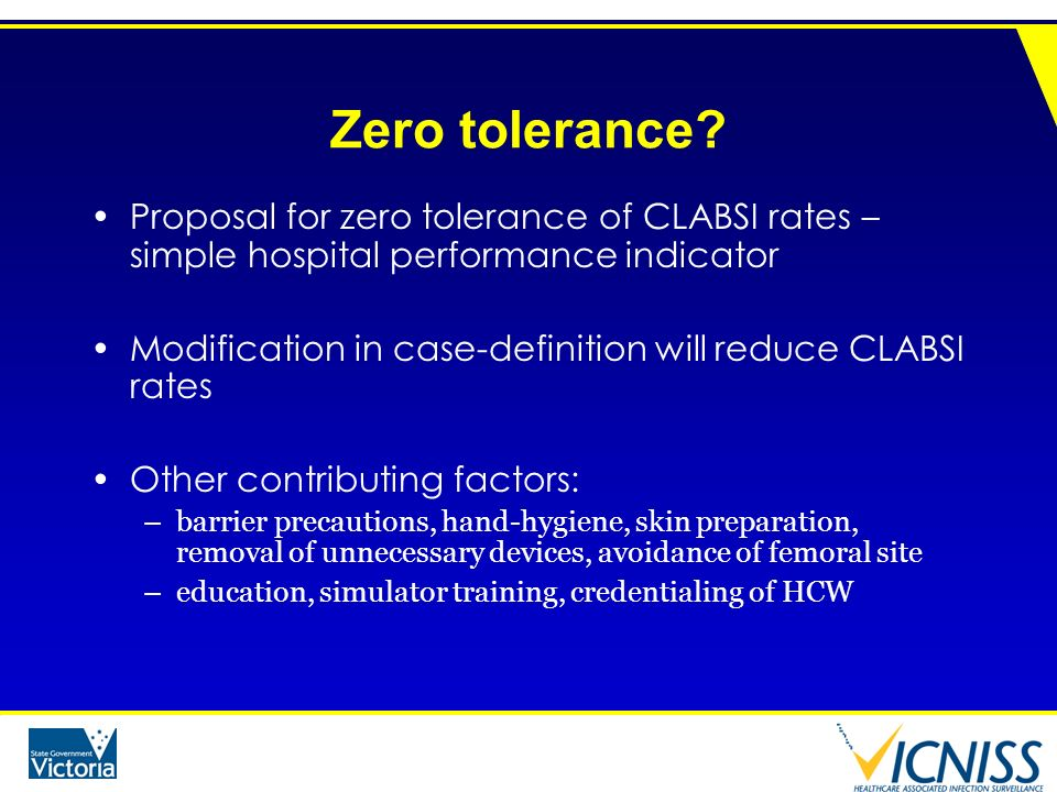 Zero tolerance Proposal for zero tolerance of CLABSI rates – simple hospital performance indicator.