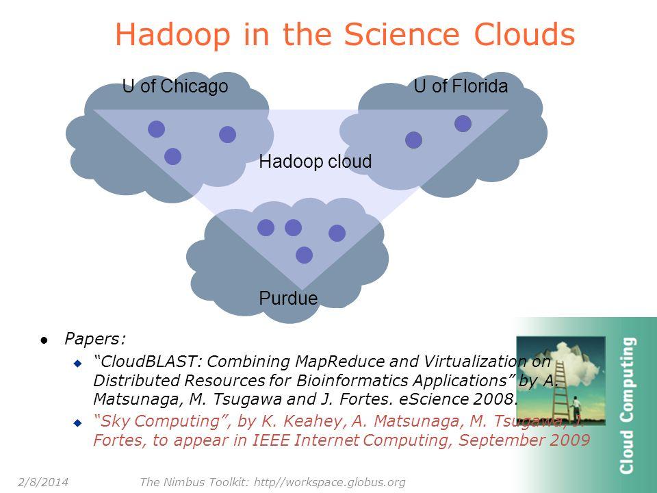 Hadoop in the Science Clouds