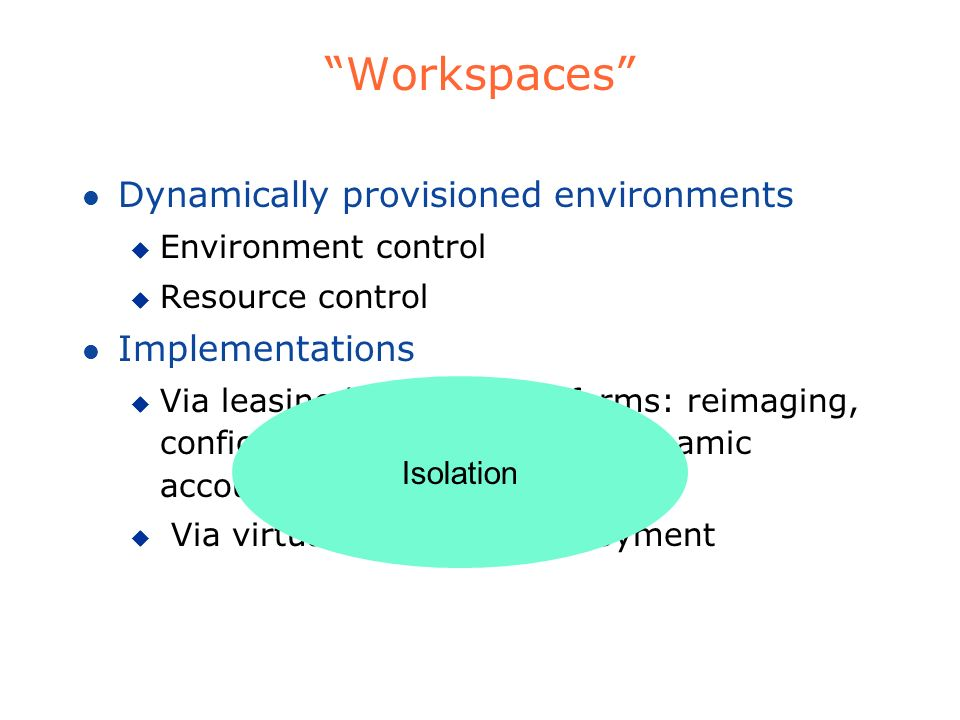 Workspaces Dynamically provisioned environments Implementations