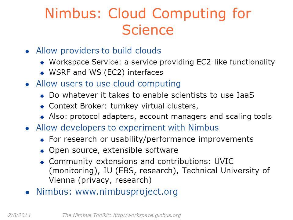 Nimbus: Cloud Computing for Science