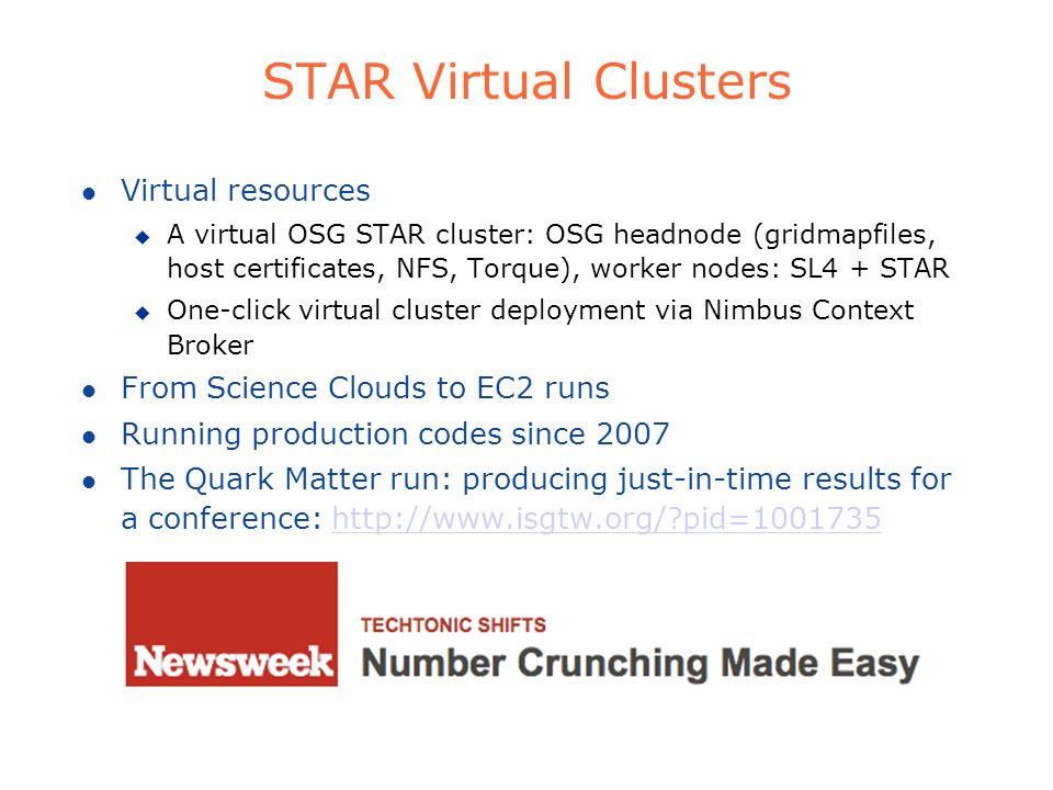 STAR Virtual Clusters Virtual resources
