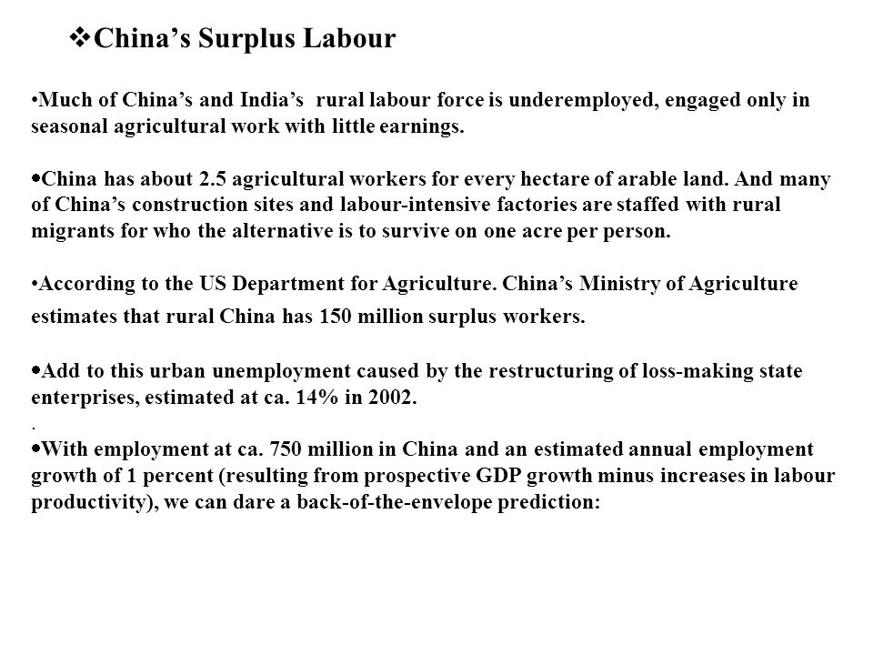 China's Surplus Labour