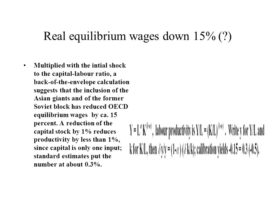 Real equilibrium wages down 15% ( )