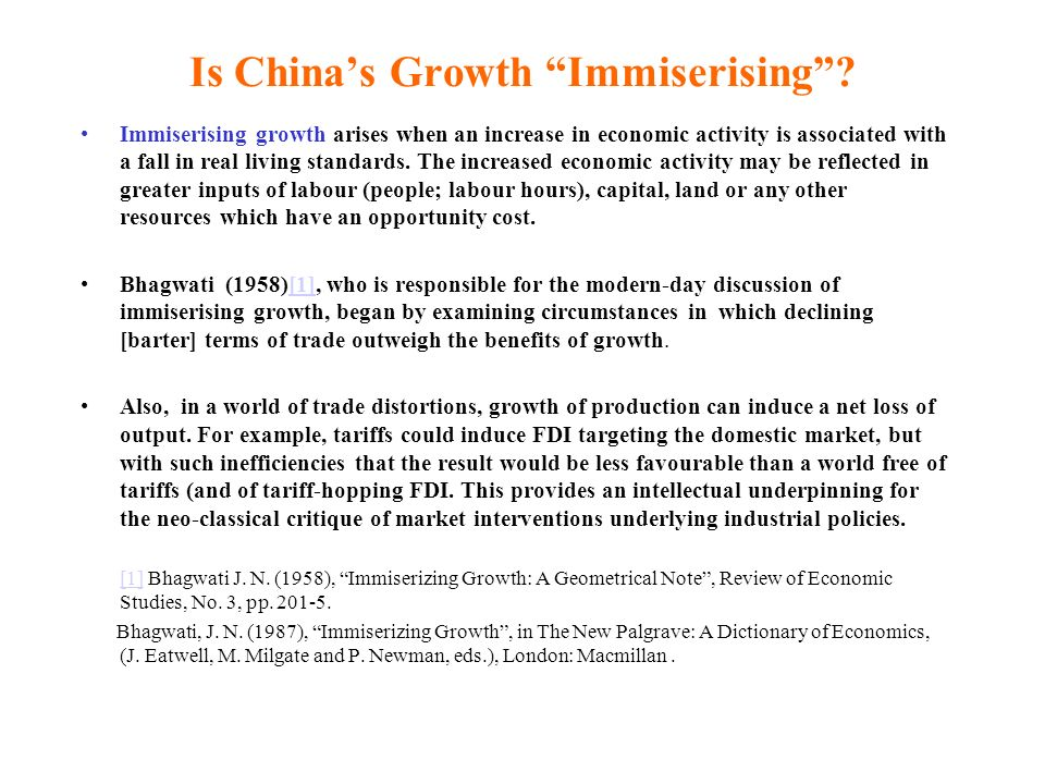 Is China's Growth Immiserising