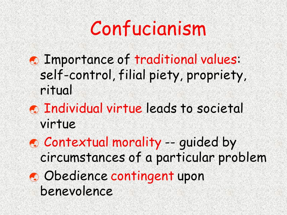 confucianism filial virtue The modification of the confucian five relations and their associated virtues in the imperial rescript on education (1890) but it does mention our subjects ever united in loyalty and filial piety in its first sentence, and the clear.