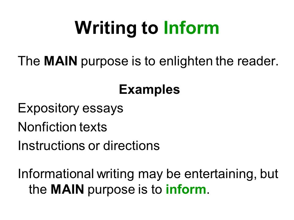 "writing with an informative aim Definition of expository writing expository writing is defined as presenting reasons, explanations, or particularly in the ""purpose of making the bed"" section."
