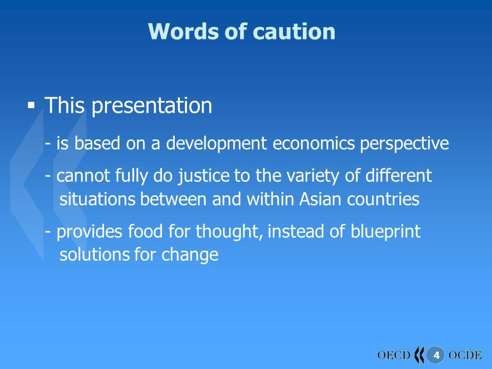 Words of caution This presentation