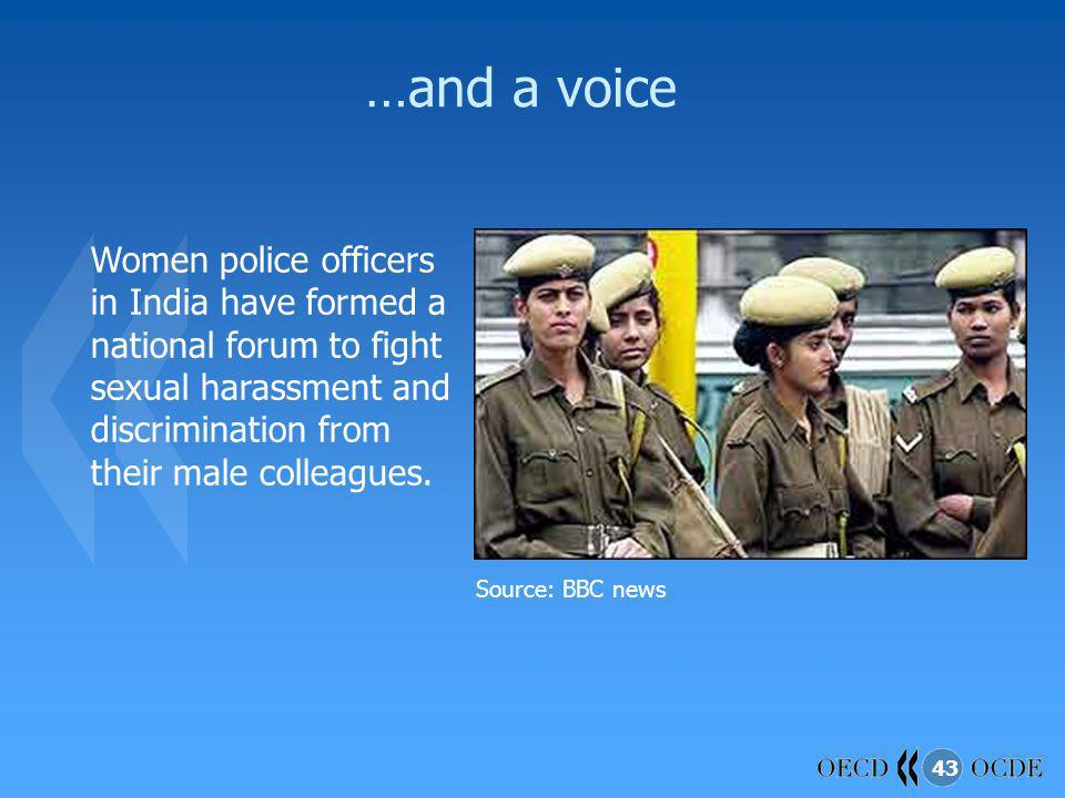 …and a voice Women police officers in India have formed a national forum to fight sexual harassment and discrimination from their male colleagues.
