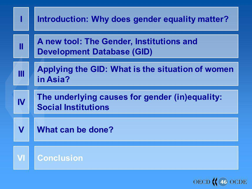 I Introduction: Why does gender equality matter II. A new tool: The Gender, Institutions and Development Database (GID)