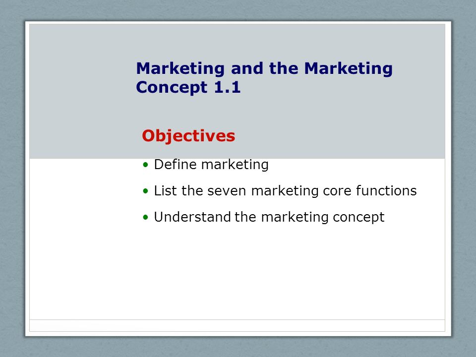 Marketing and the Marketing Concept 1.1