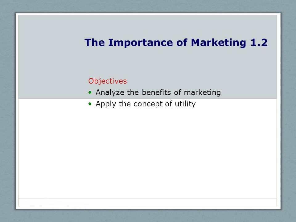 The Importance of Marketing 1.2