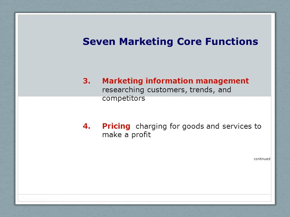 Seven Marketing Core Functions