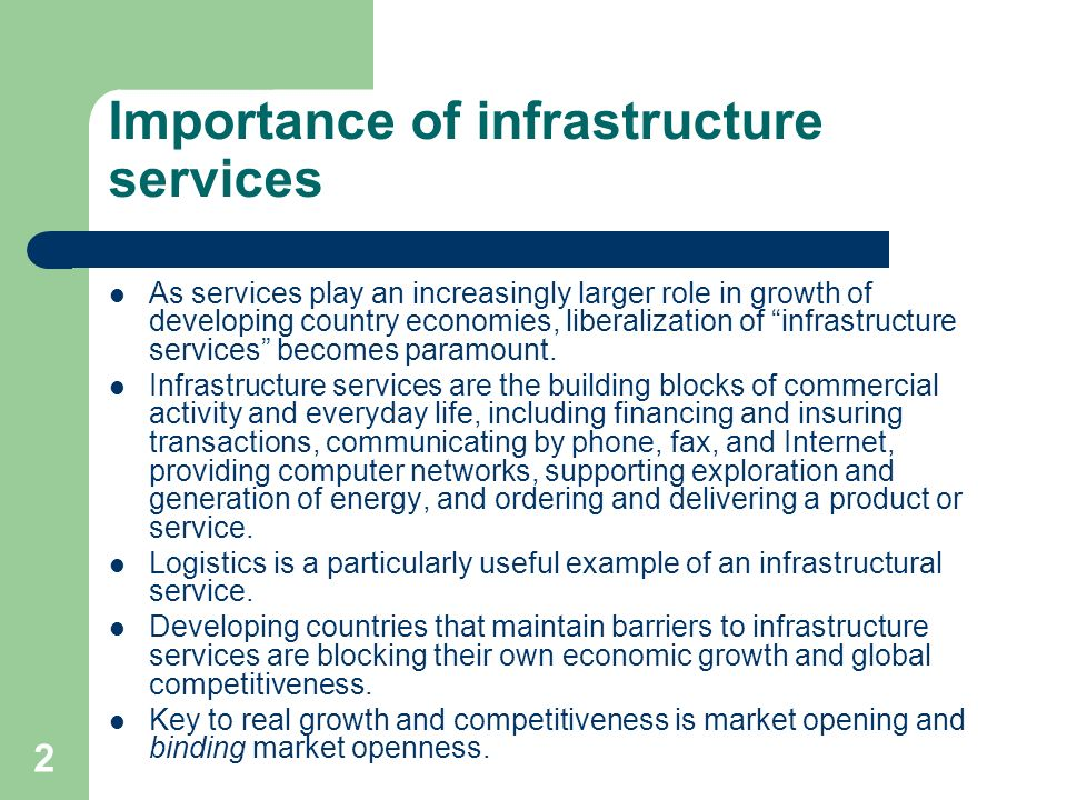 Importance of infrastructure services