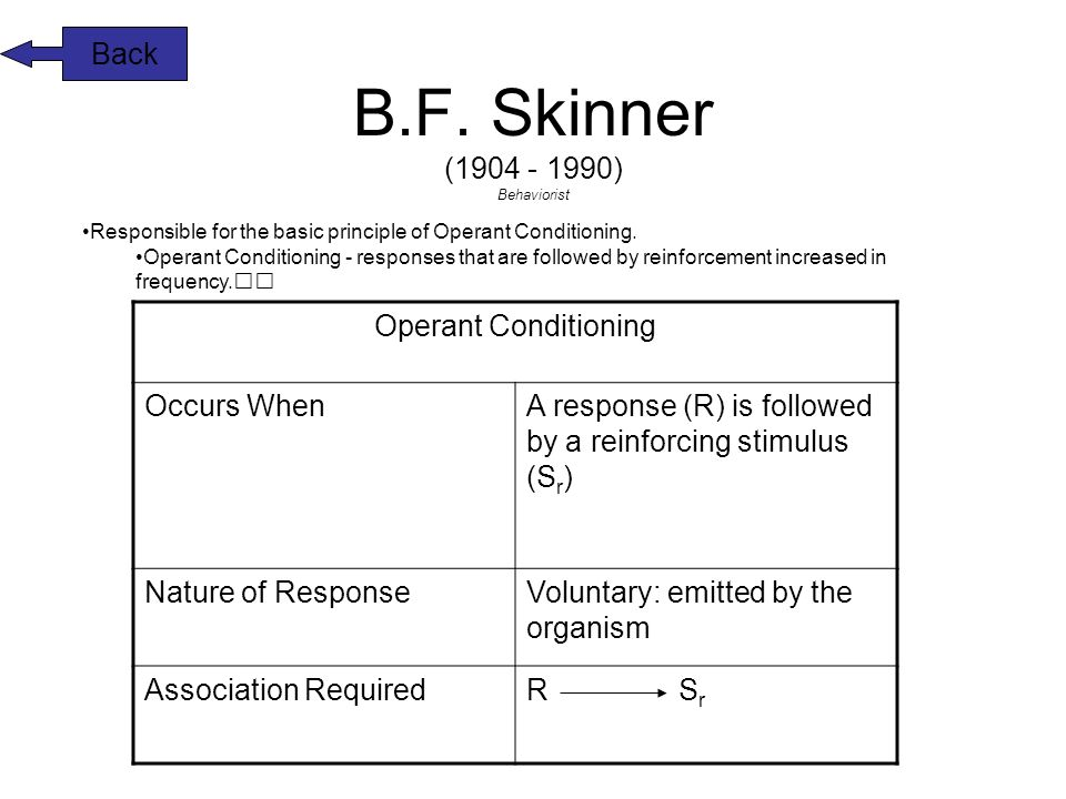 the theory of b f skinner 7 Major behavioral theorists have made to the behavioral theory of personality   skinner and pavlov, believed that the environment determines the behavior.