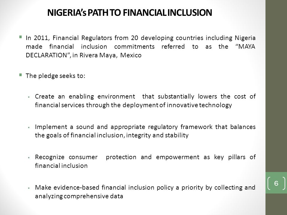 NIGERIA's PATH TO FINANCIAL INCLUSION