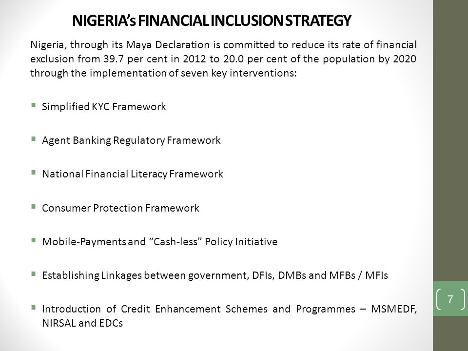 NIGERIA's FINANCIAL INCLUSION STRATEGY