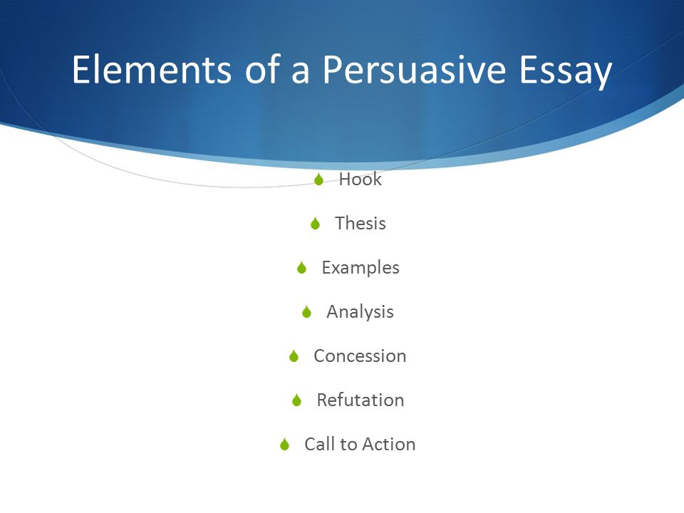 elements of the persuasive essay A brief guide to the elements of the academic essay persuasive it needs to be the or list of elements found in the text.
