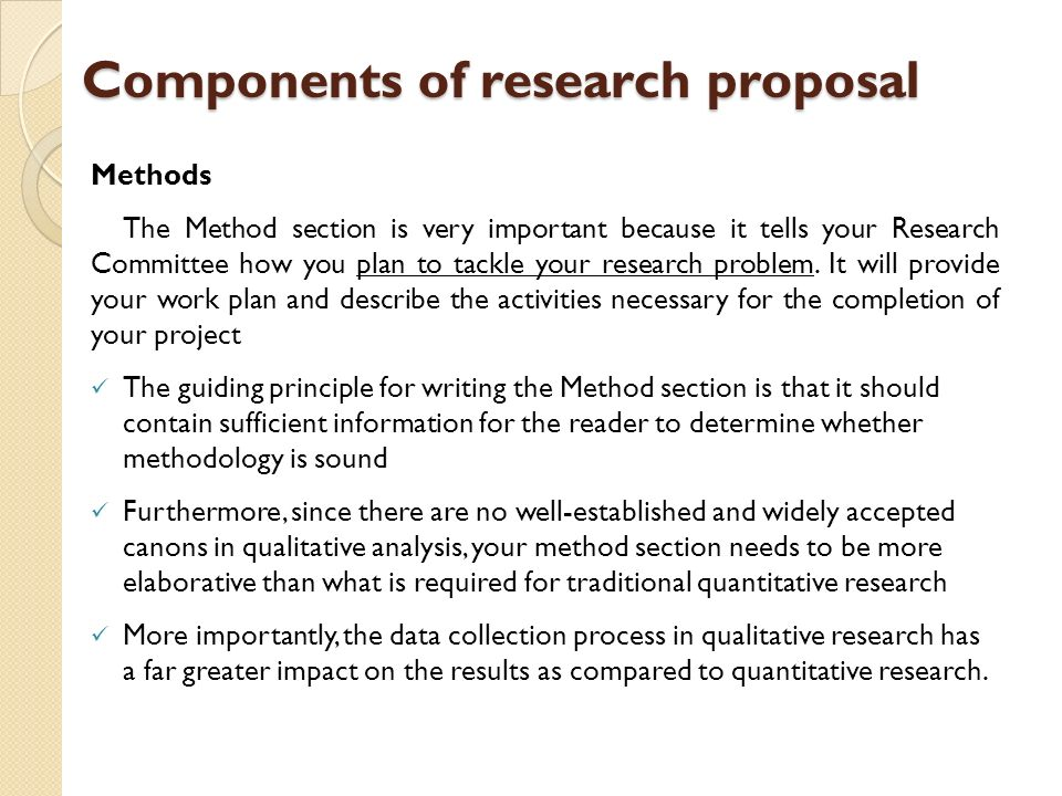 research proposal sections