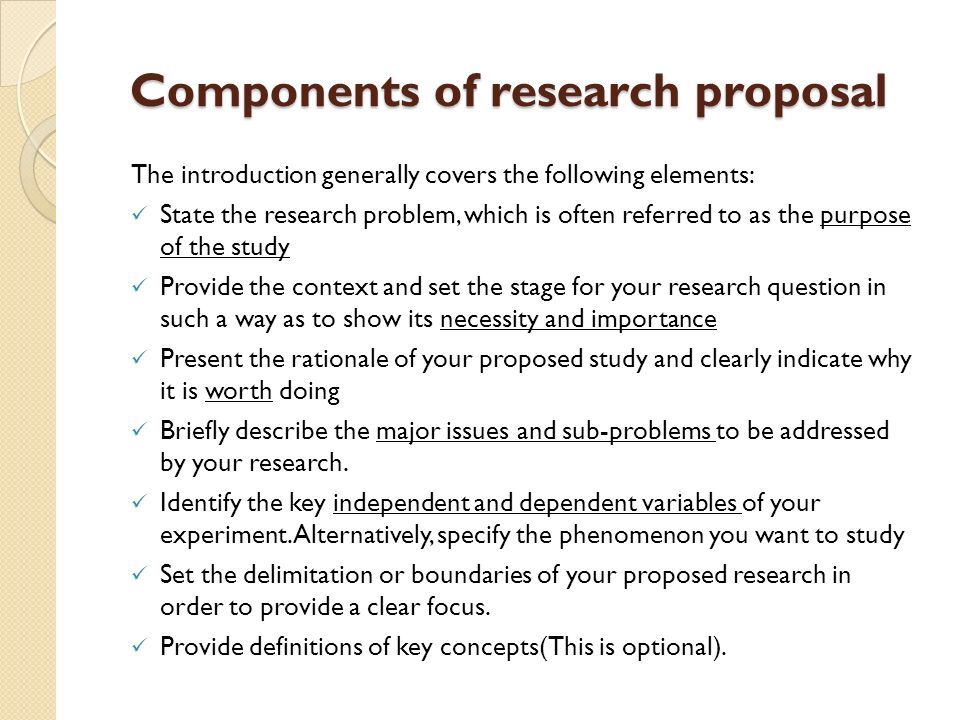 dissertation proposal components Components of a thesis/dissertation proposal 1 one-two page summary of research project 2 table of contents 3 introduction/motivation/significance for research project.