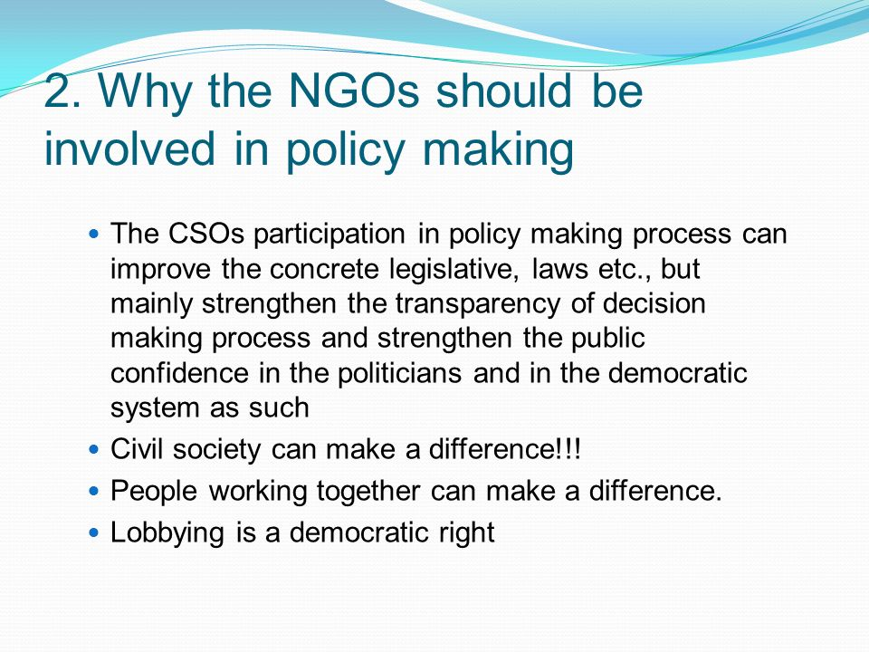 ngos and policy making in nigeria National models of participation of ngos in policy- participation of ngos in the decision-making processes differ this study makes an attempt at.